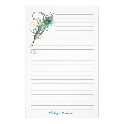 8 Images of Printable Peacock Stationery
