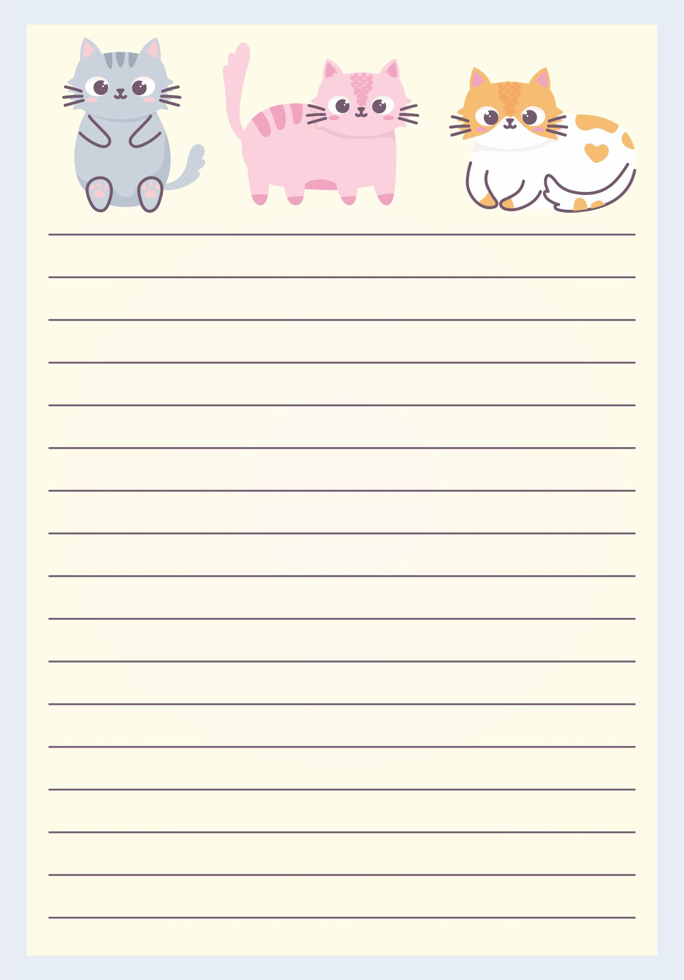 Printable Lined Writing Paper Stationery