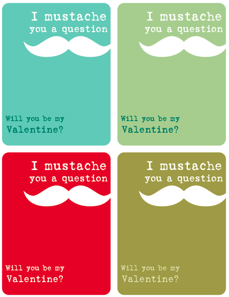 4 Images of Free Printable Mustache Valentine's Day Card