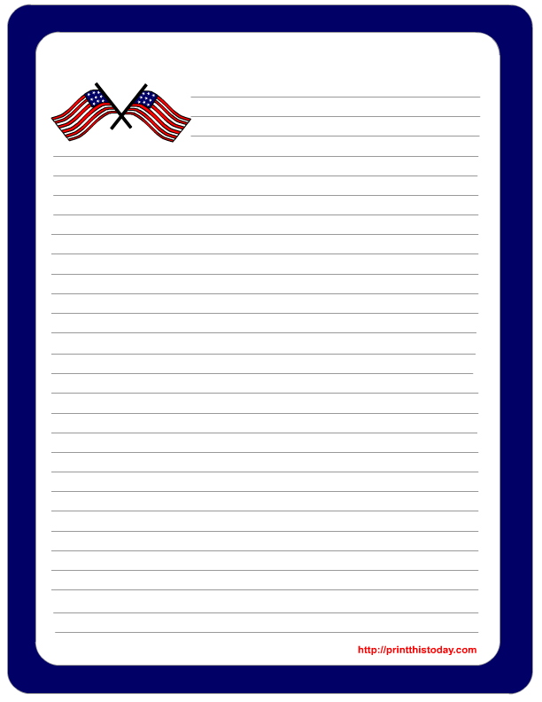 Free Printable Patriotic Lined Paper