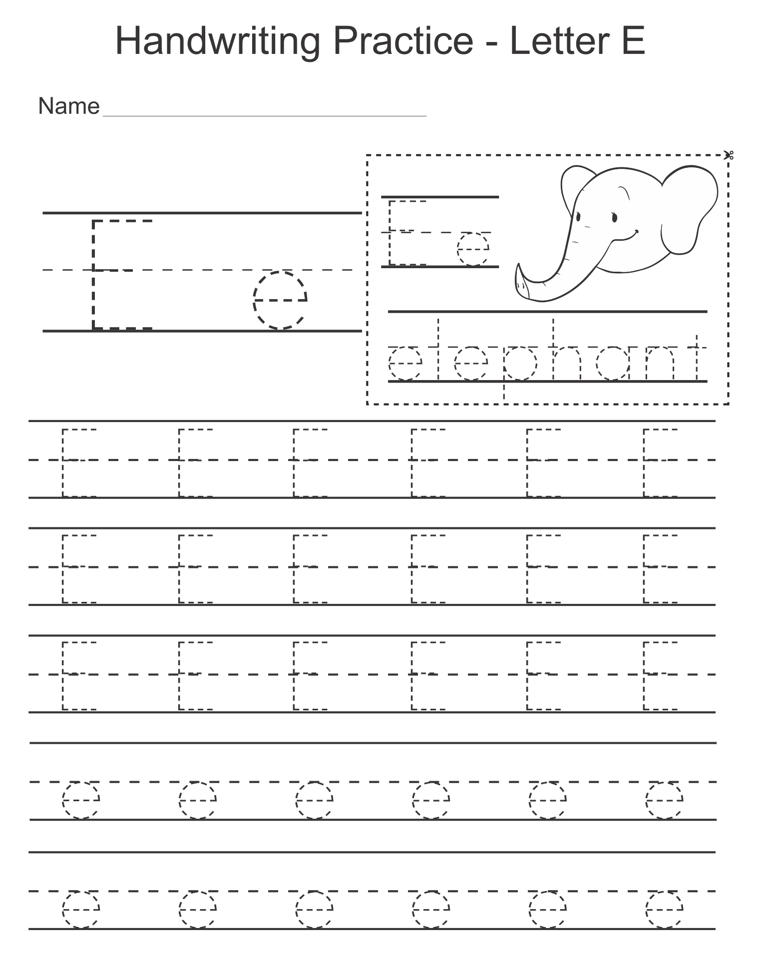 9 Images of Letter E Worksheets Free Printable
