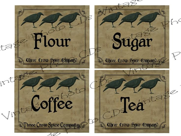 Free Printable Primitive Labels Coffee Flour Sugar