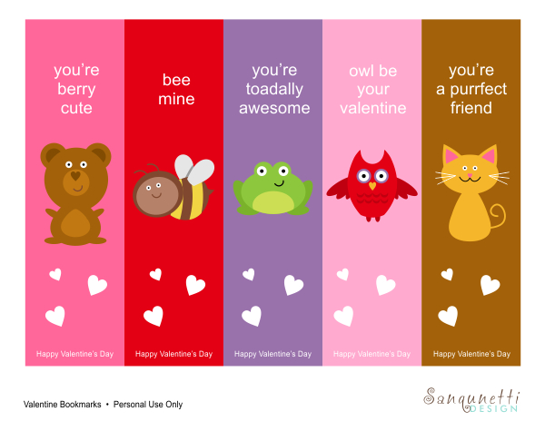 5 Images of Printable Valentine Bookmarks