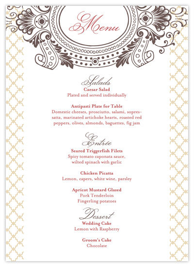 9 best images of free printable wedding menus free printable wedding menu templates free. Black Bedroom Furniture Sets. Home Design Ideas