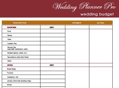 Wedding Planner Printable Samples