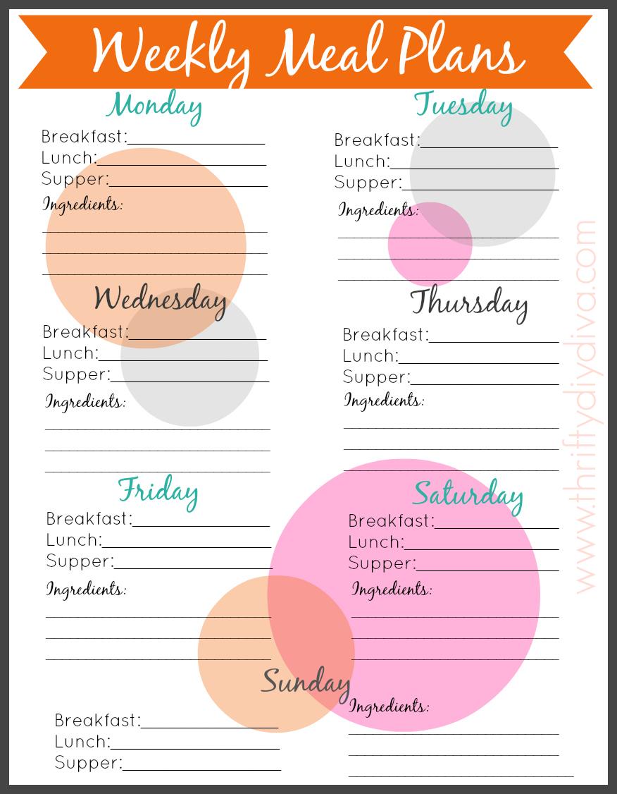 Weekly Calendar Breakfast Lunch Dinner : Best images of printable meal menu breakfast lunch