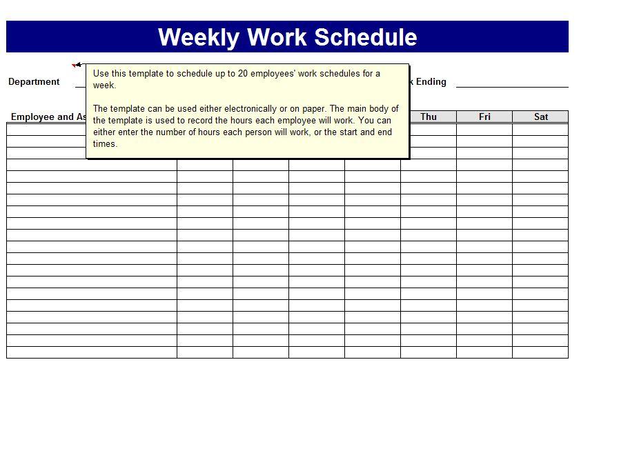 9 best images of free printable weekly work schedule