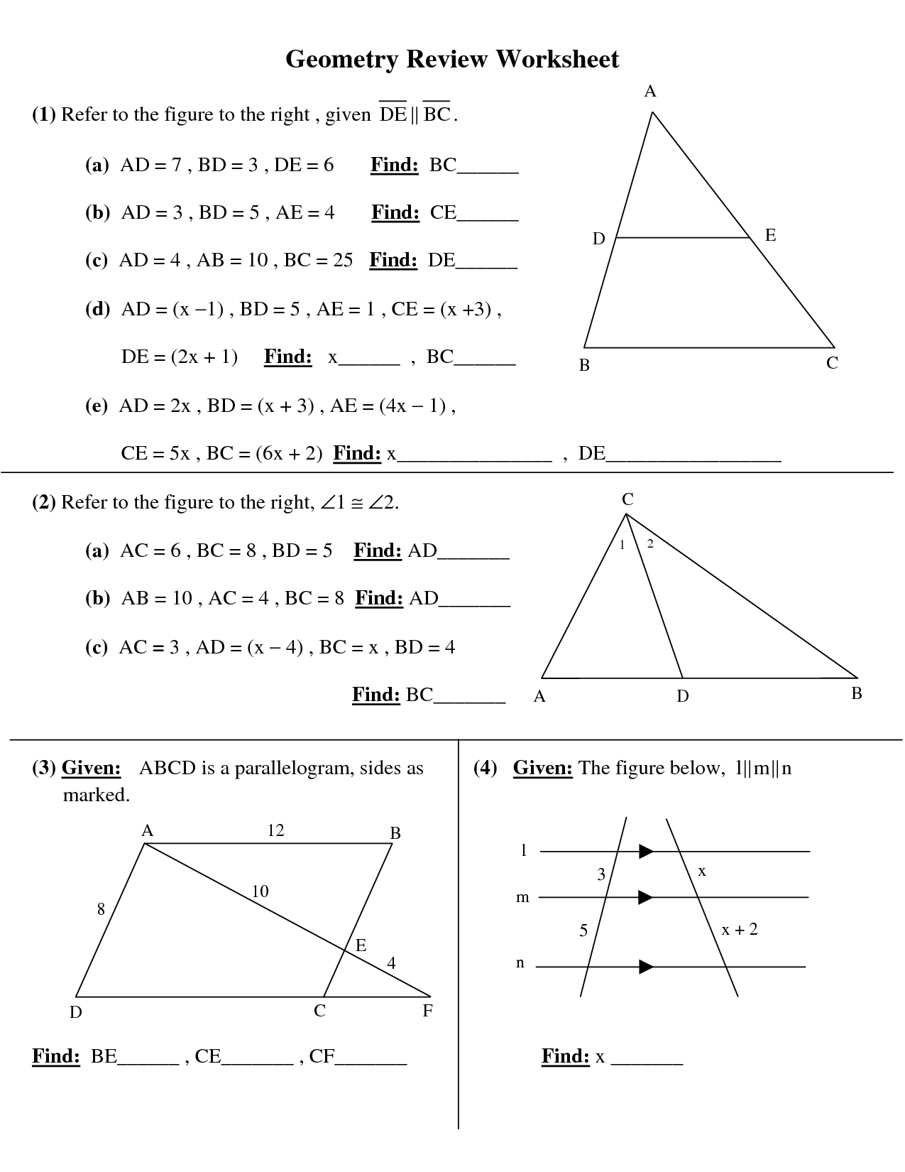 Basic geometry review sheet