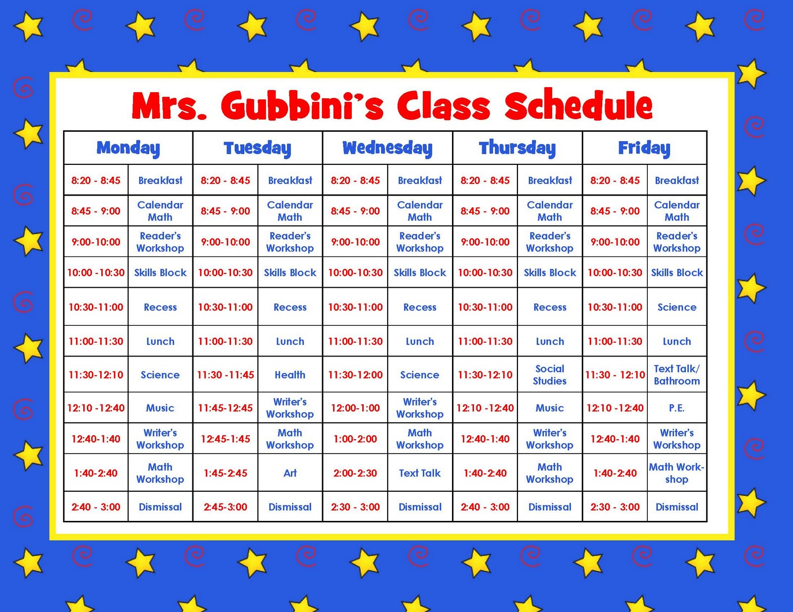 Daily Calendar Kindergarten : Best images of printable teacher schedule free