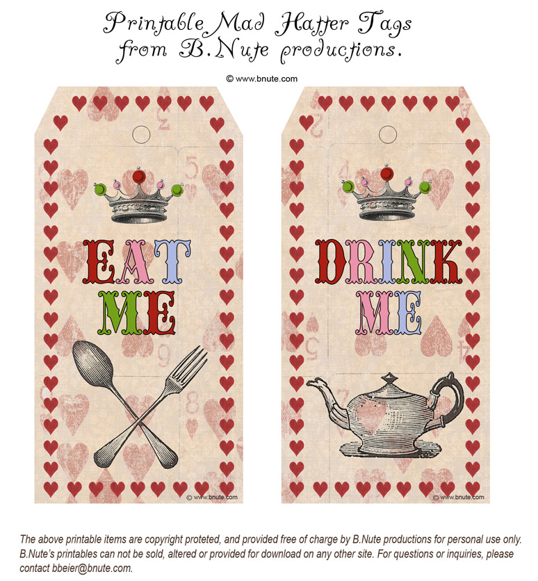 Mad Hatter Tea Party Drink Me Tags Free