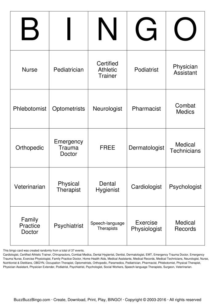 8 Images of Dental Health Bingo Printable