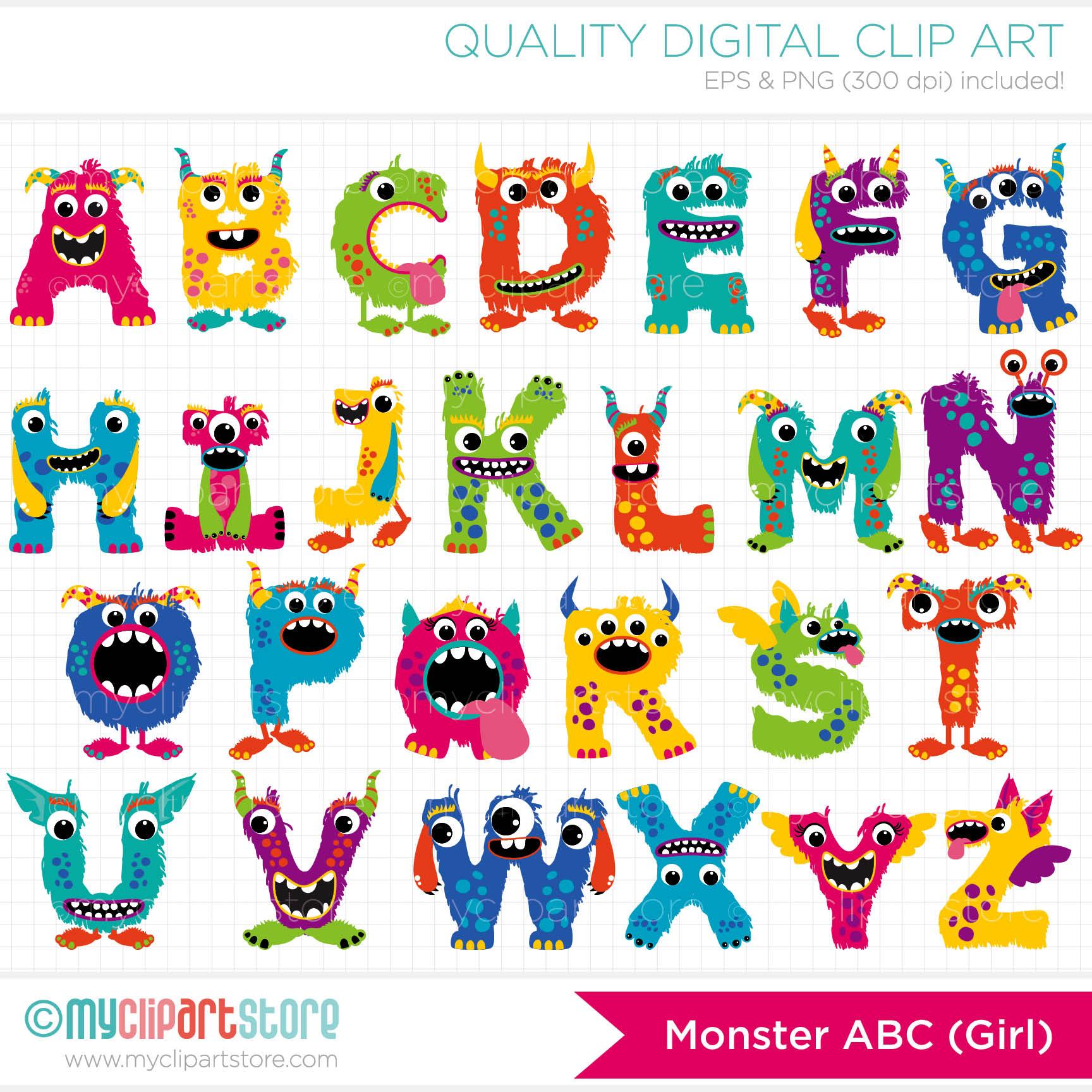 Monster Alphabet Letters Clip Art