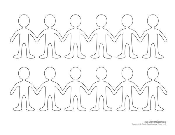 6 Images of Printable Paper Doll Chain Template