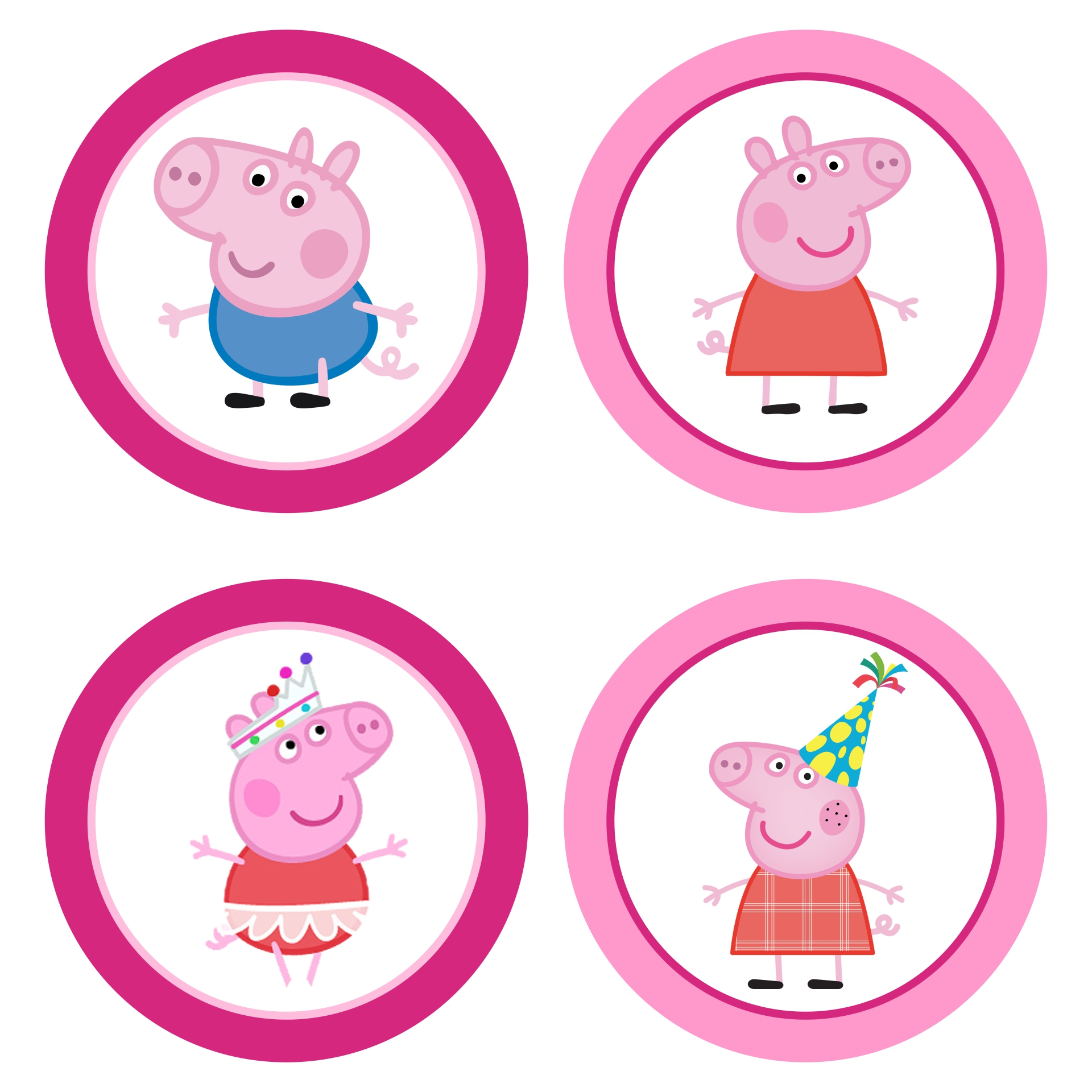 6 Images of Peppa Pig Cupcake Toppers Printable