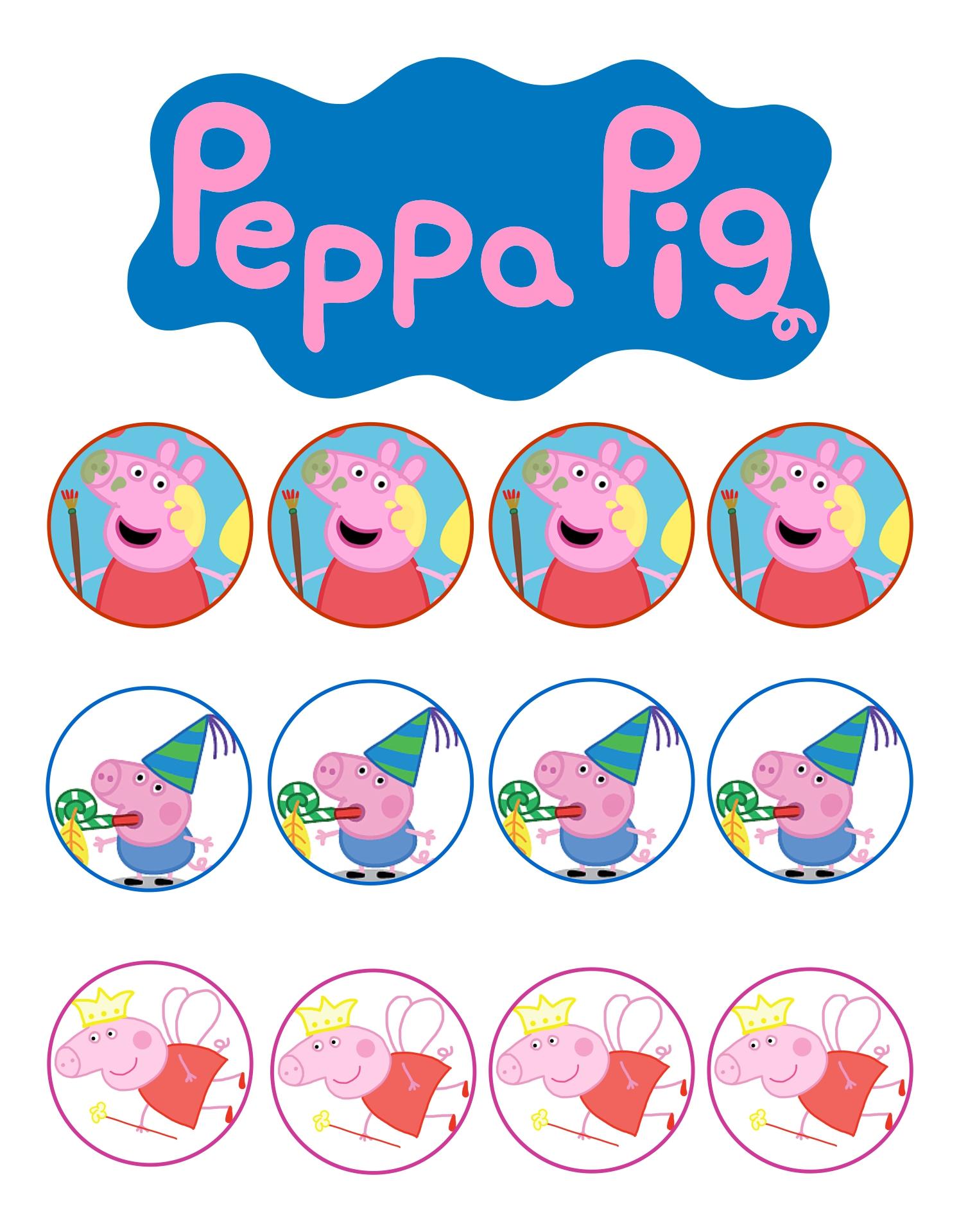 Peppa Pig Cupcake Toppers Printable Free