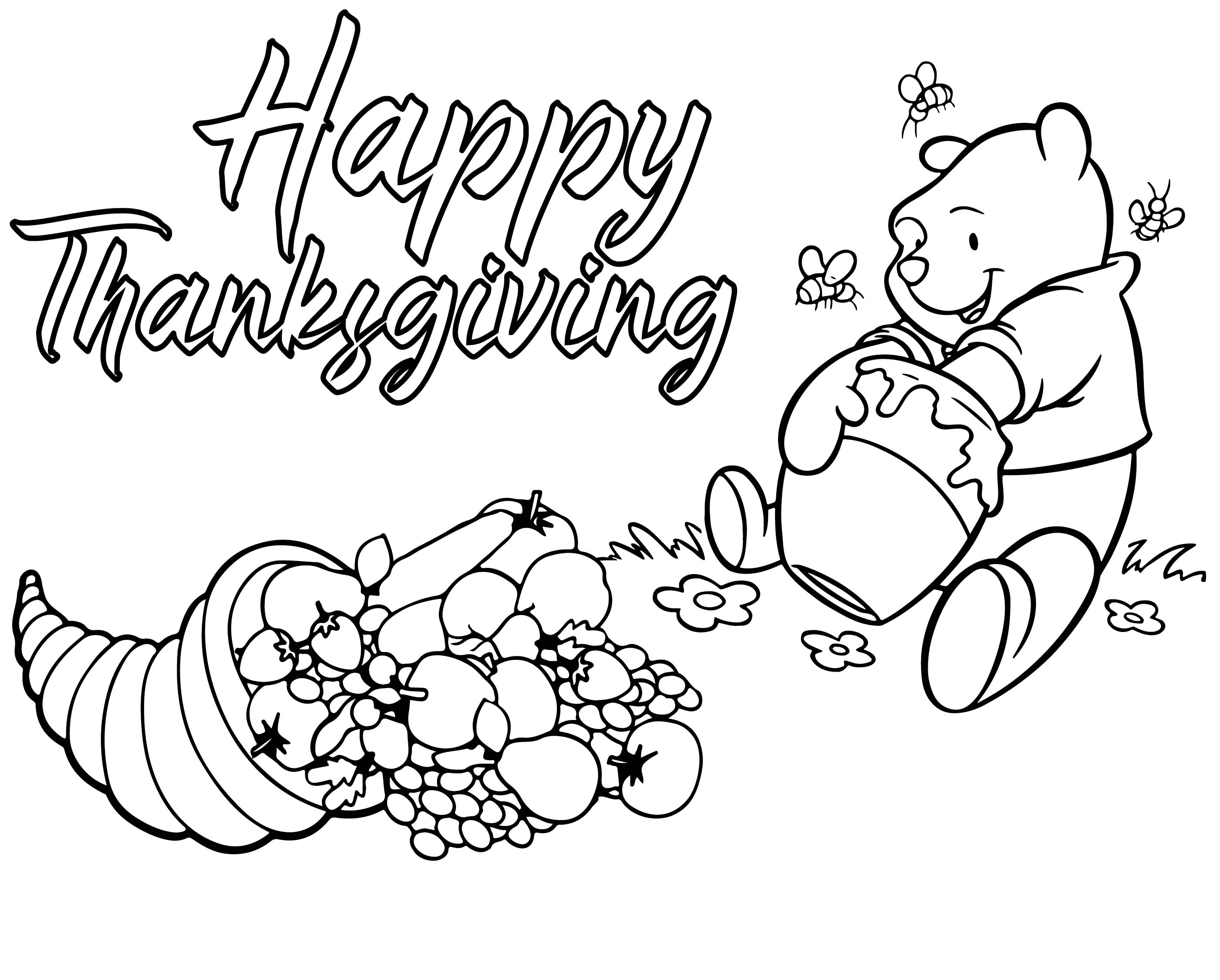 Pooh Thanksgiving Coloring Pages