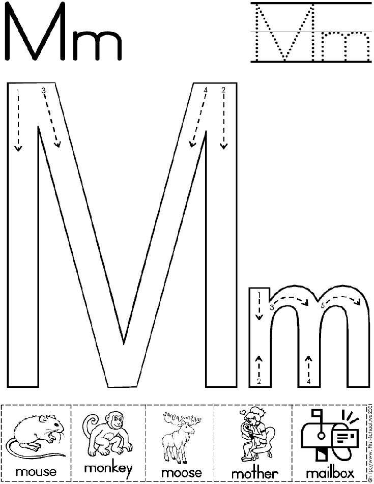 5 Images of Letter M Preschool Printables