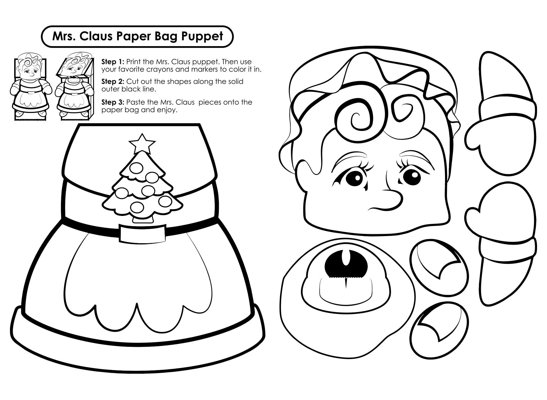 Printable Christmas Paper Bags Crafts