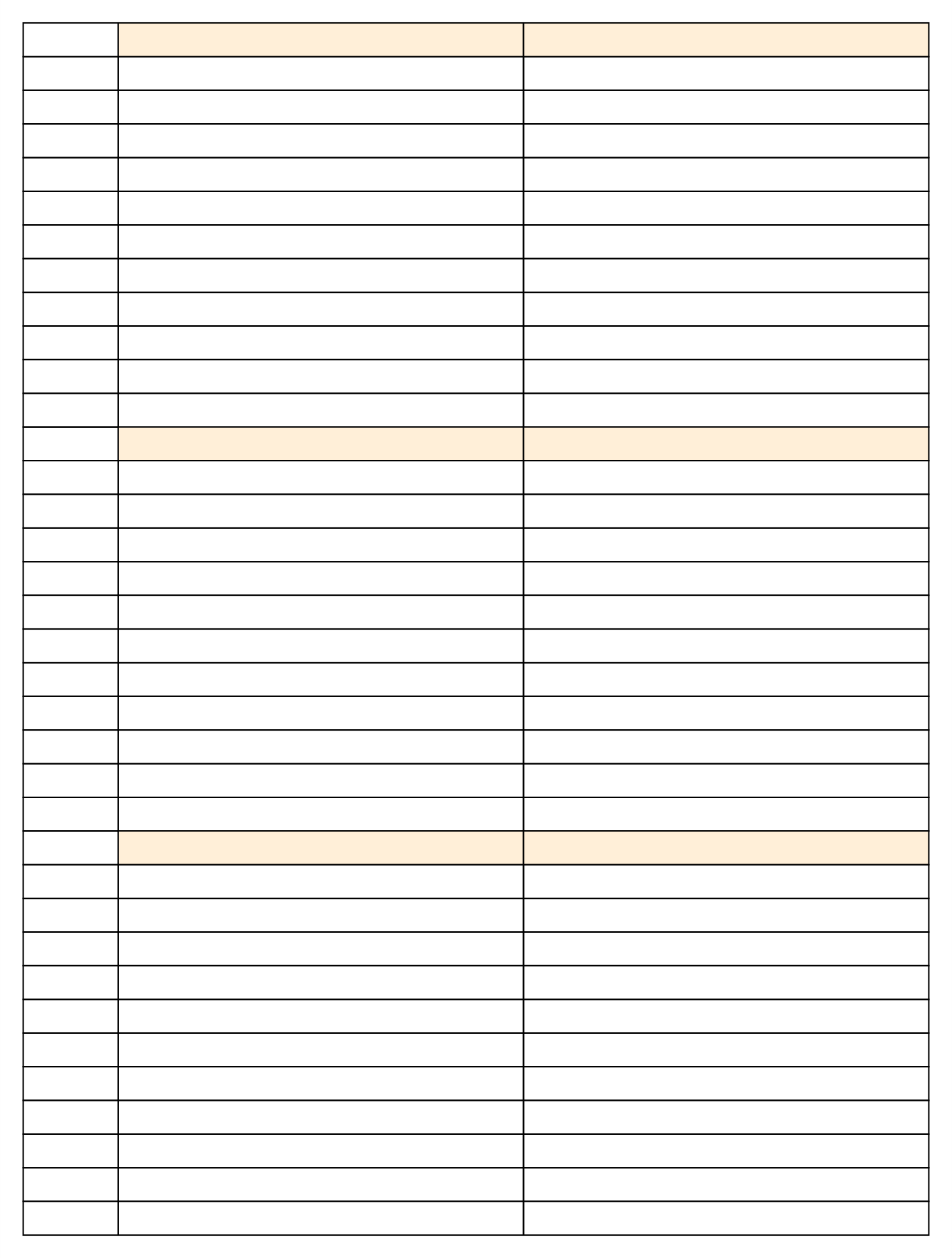 Printable Lined Paper with Columns