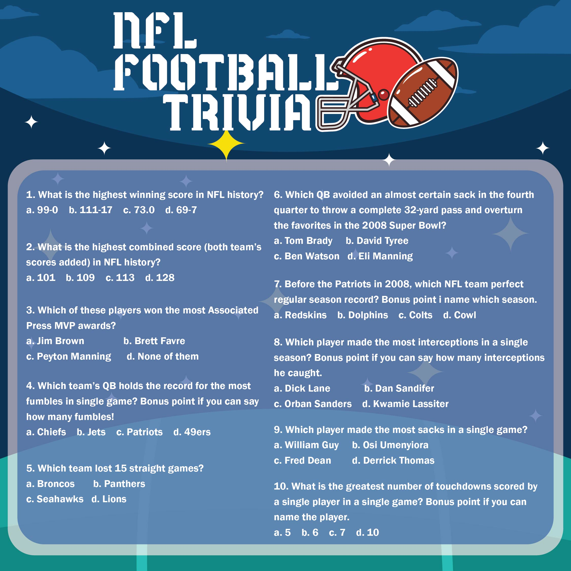 8 Images of Printable Football Trivia Questions And Answers