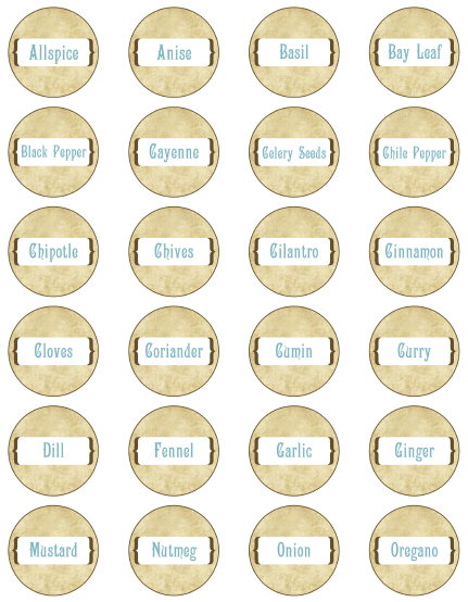 6 Images of Small Spice Bottle Labels Printable