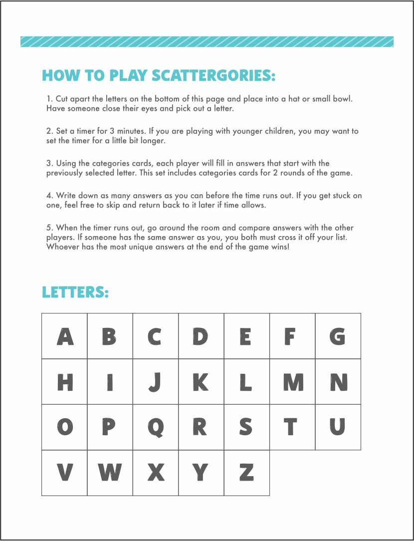 Scattergories Categories List