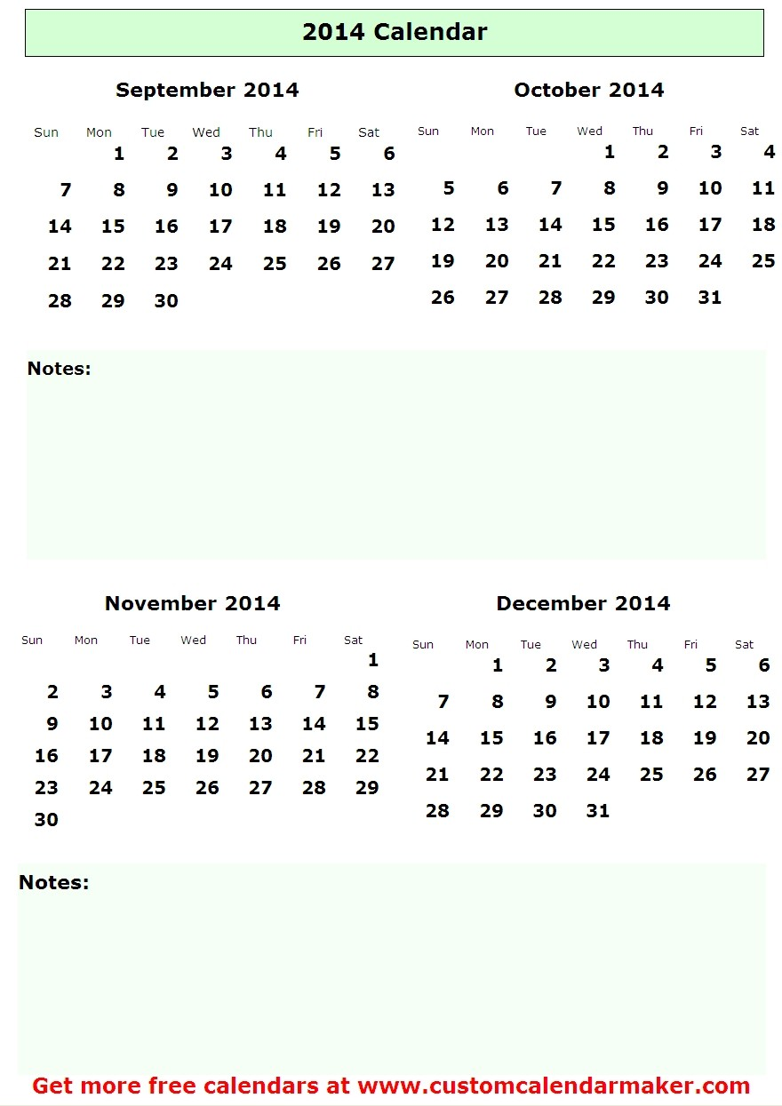 September 2014 Issue: 8 Best Images Of September October 2014 Calendar Printable