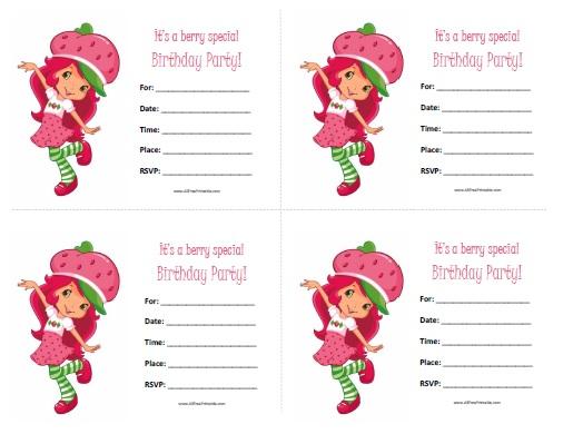 7 Images of Strawberry Shortcake Invitations Printable Free