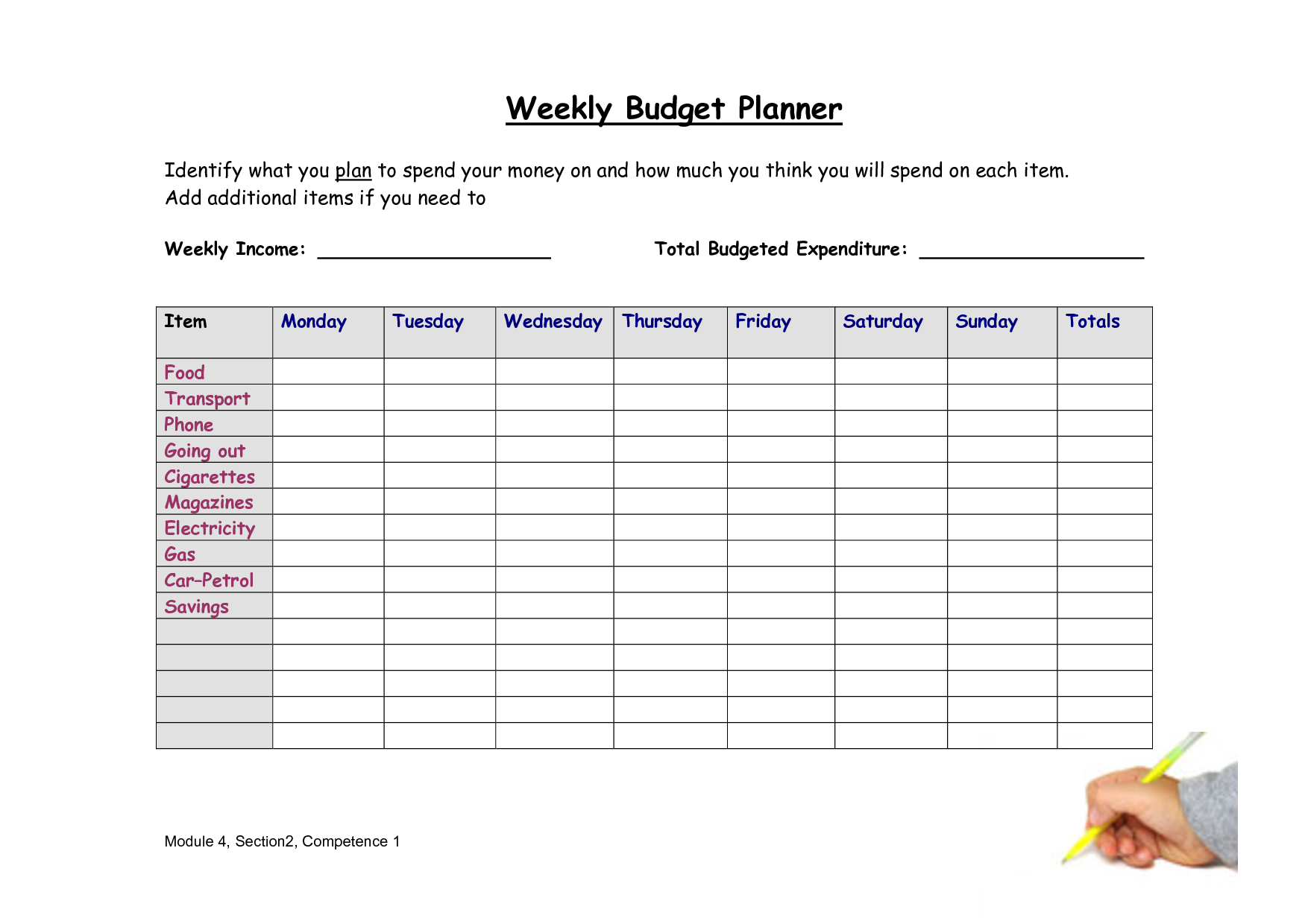 8 best images of weekly budget worksheet free printable bi weekly personal budget excel. Black Bedroom Furniture Sets. Home Design Ideas
