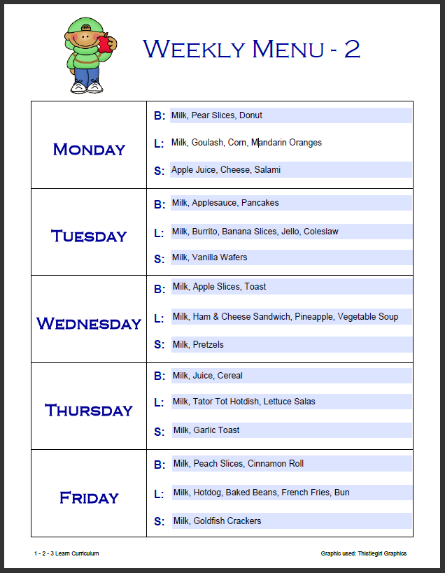 7 Images of Free Printable Day Care Weekly Menu Planner
