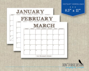 2016 Monthly Calendar Printable