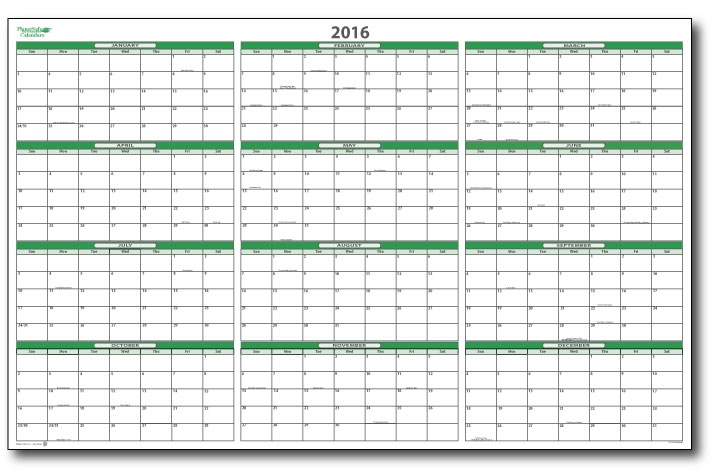 2016 Yearly Wall Planner Calendars
