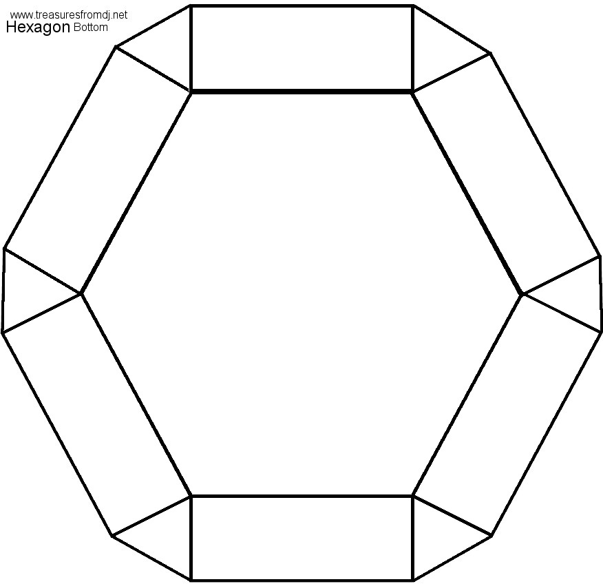 4 Images of Hexagon 3D Shape Templates Printable