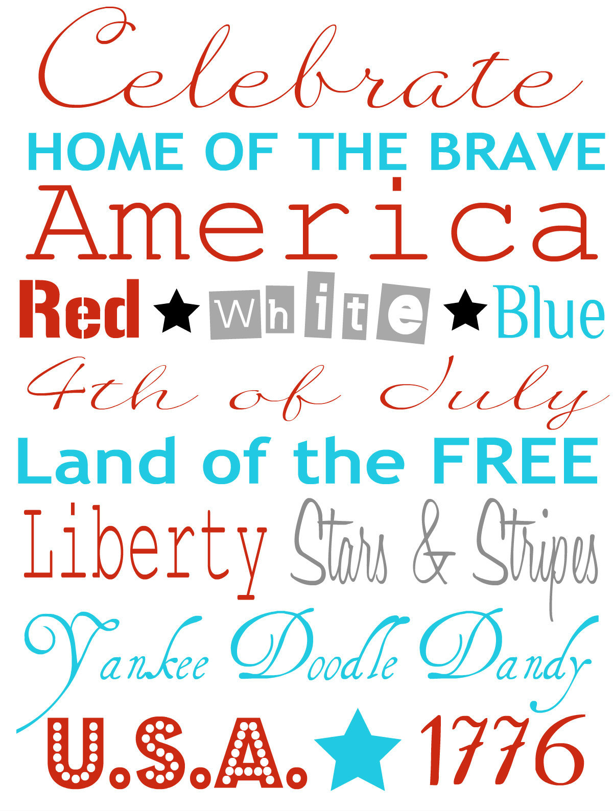 6 Images of Fourth Of July Free Printables