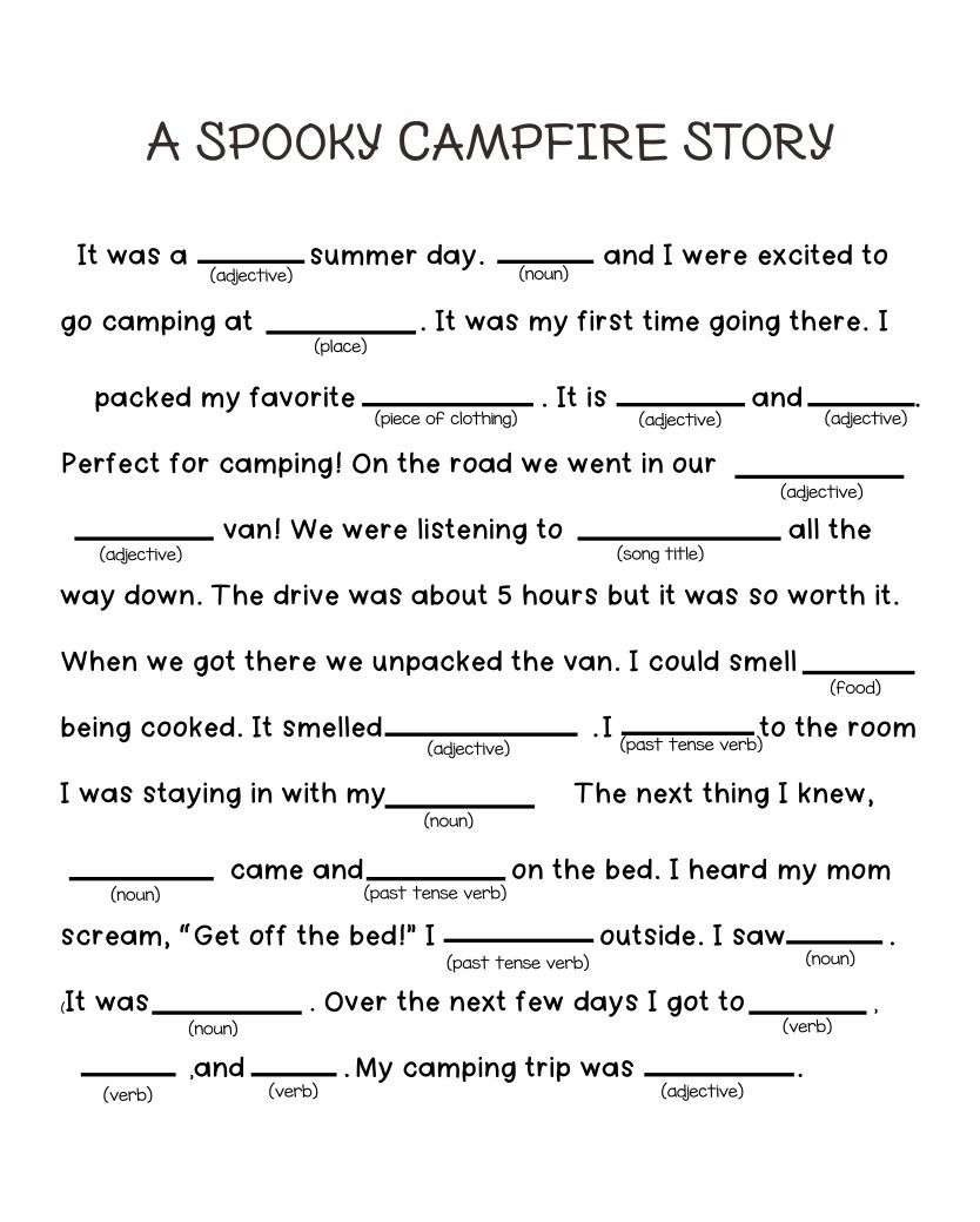 A Spooky Story Campfire Mad Libs Printable