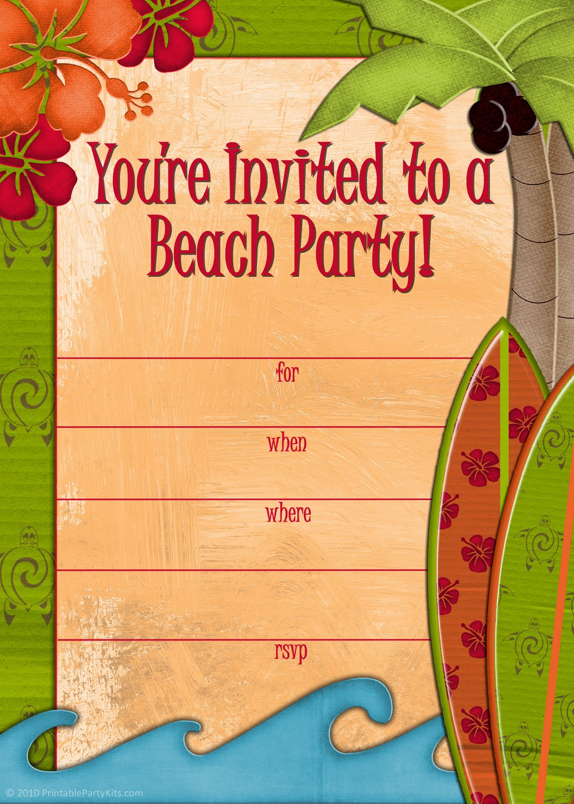 5 Images of Beach Party Invitations Printable Free