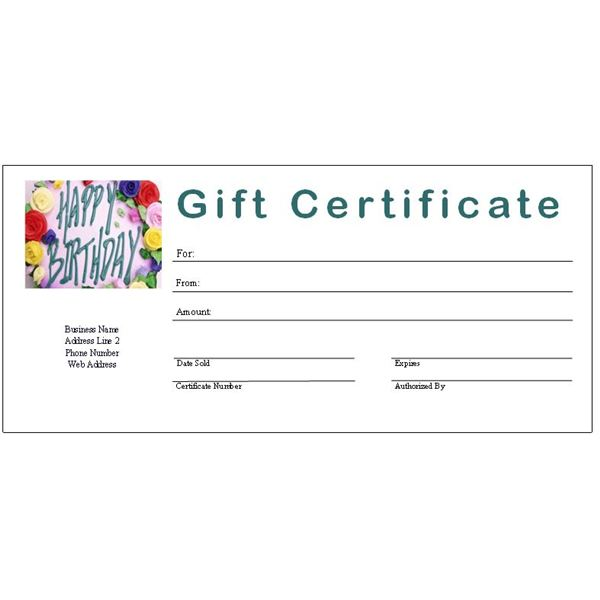 5 Images of Free Printable Birthday Gift Certificate Template