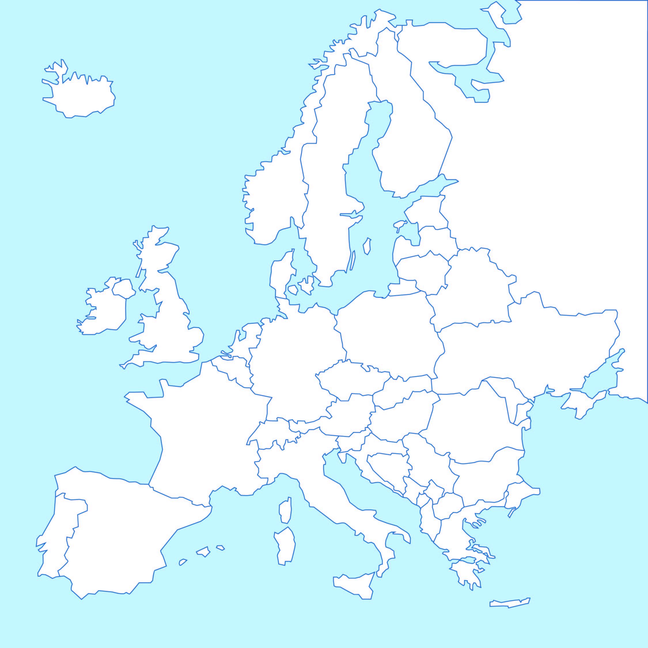4 Best Black And White Printable Europe Map Printablee Com