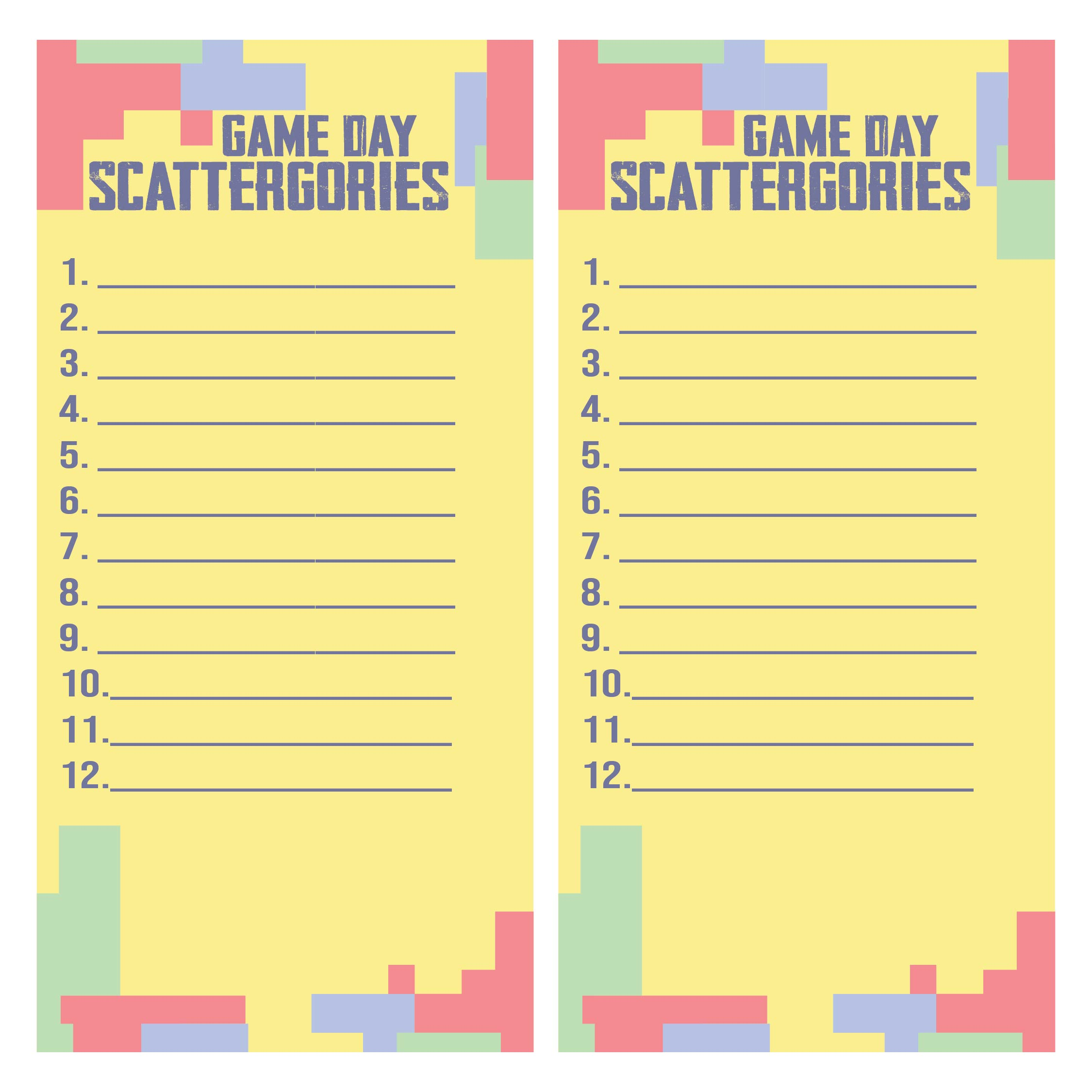 5 Images of Printable Scattergories Sheets