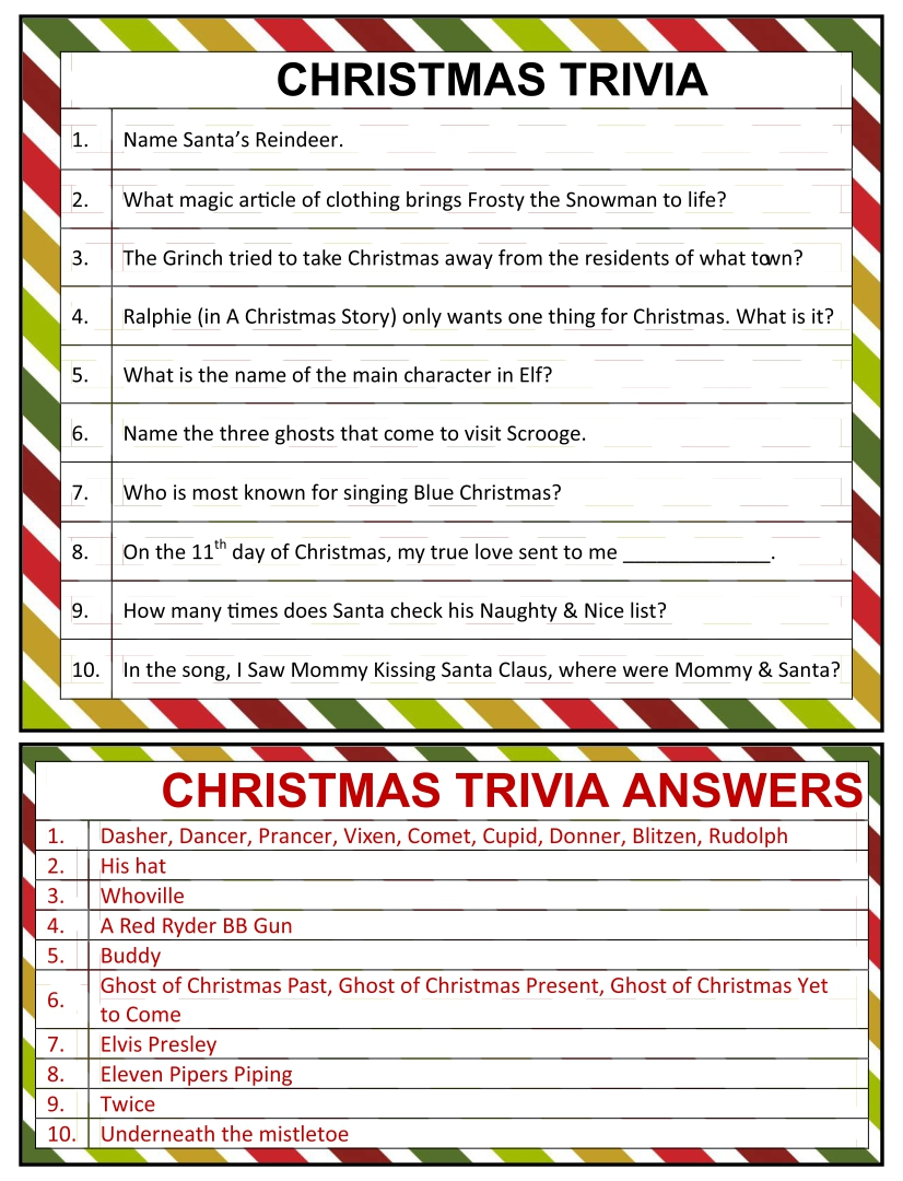 Christmas Printable Trivia with Answers