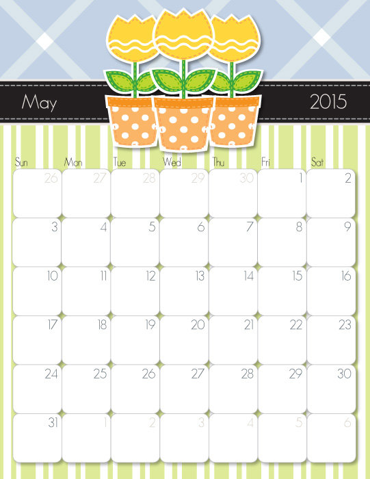 7 Images of Cute Free Printable Calendar May 2015