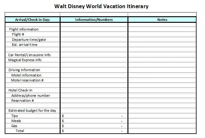 7 best images of printable disney world itinerary walt for Trip planning itinerary template
