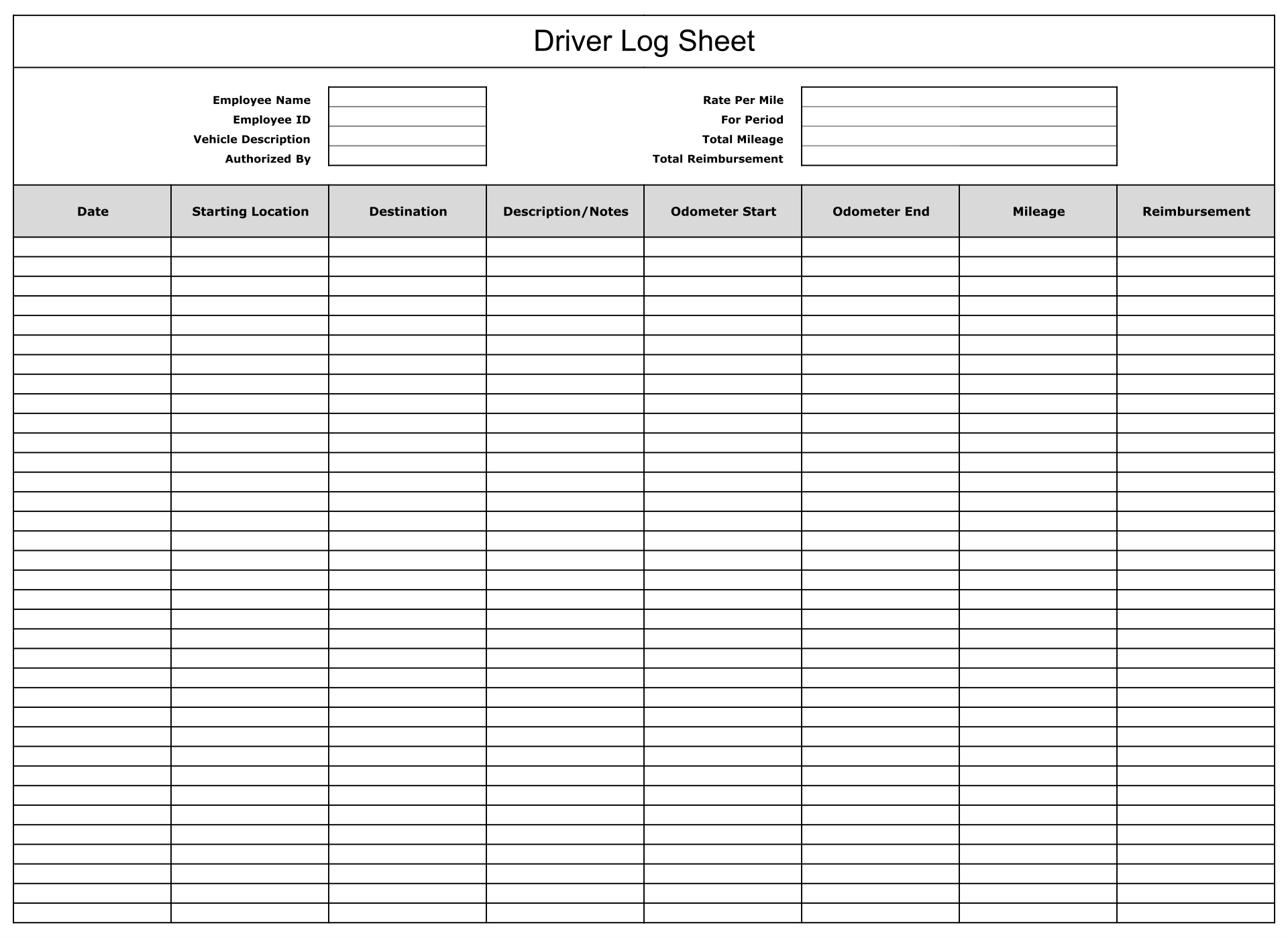 driving log book template