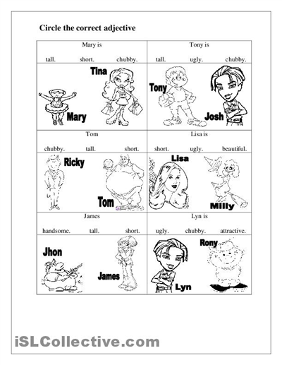 math worksheet : 9 best images of printable kindergarten worksheets on adjectives  : Adjective Worksheet For Kindergarten