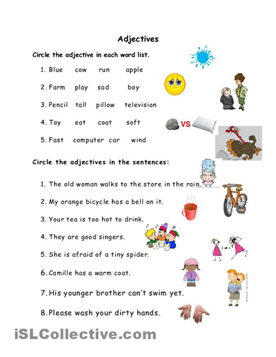 Free printable adjectives worksheets for kindergarten