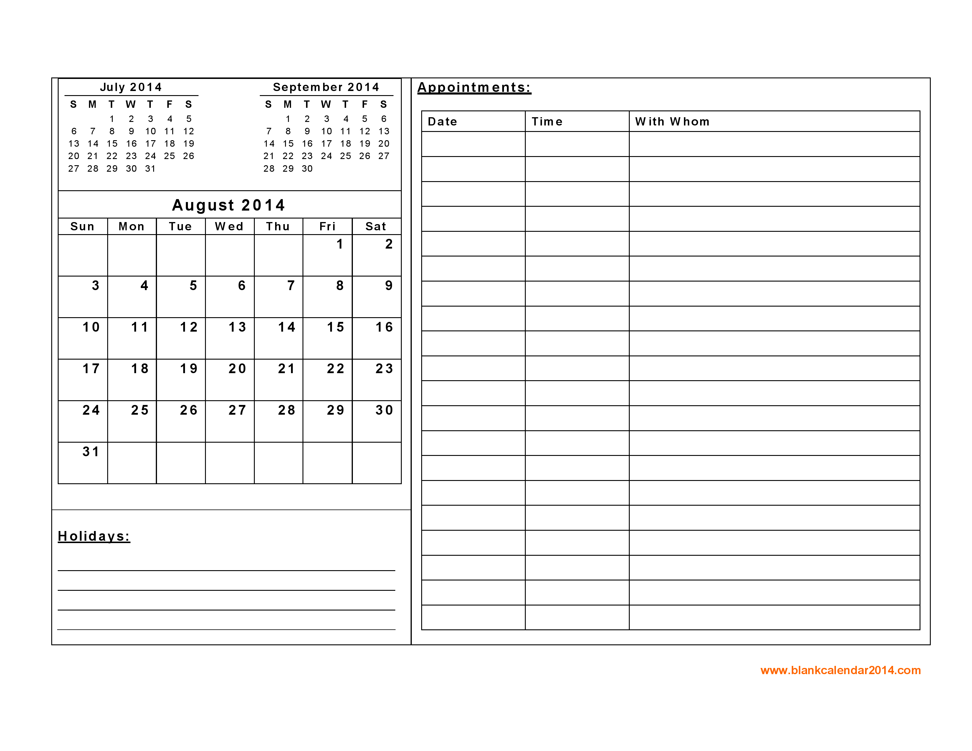8 Images of Blank Daily Printable Calendar 2014