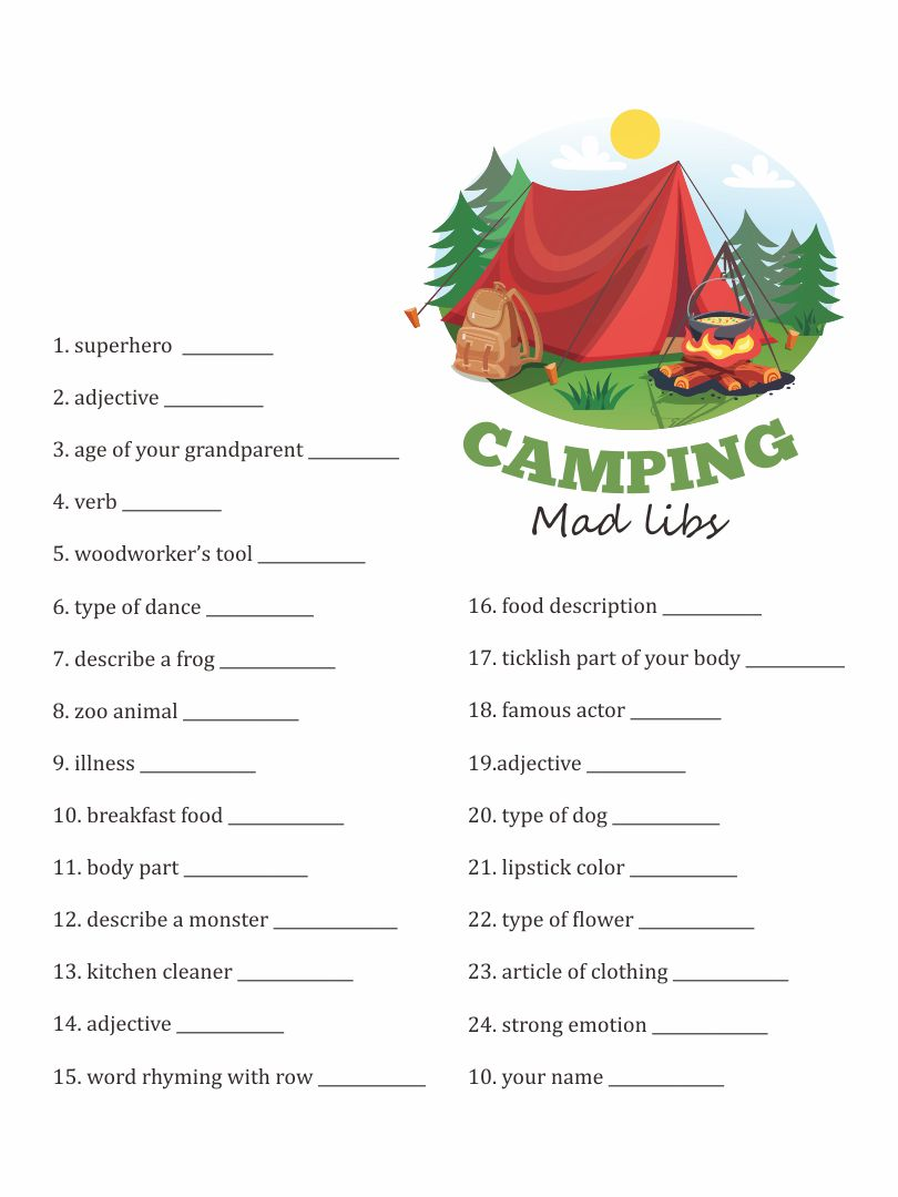 Witty image with camping mad libs printable