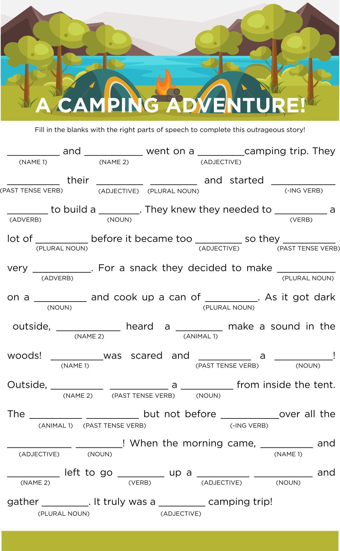 Printable Camping Mad Libs