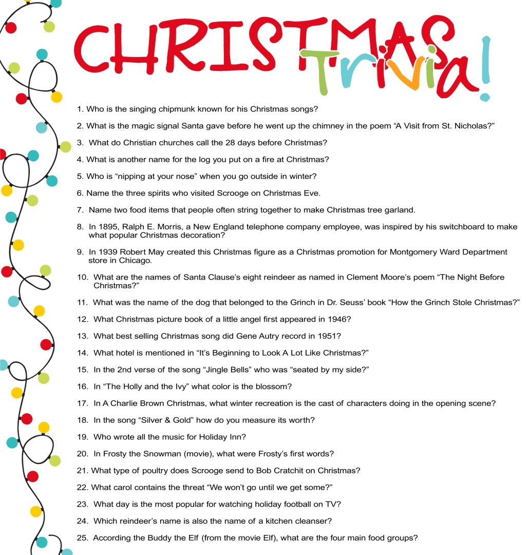 Free Printable Christmas Trivia Questions