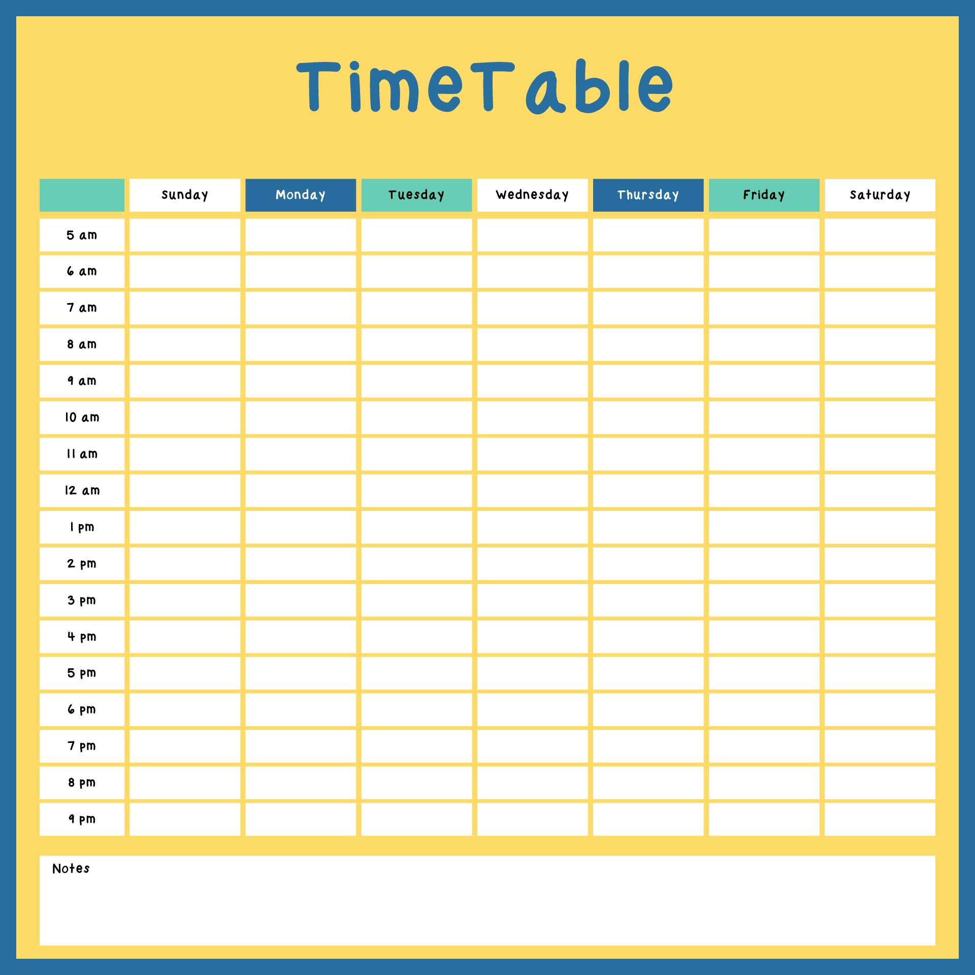 Printable Hourly Schedule Planner